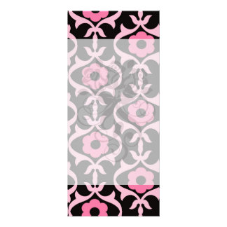 whimsical chic pink flower damask on black rack card design
