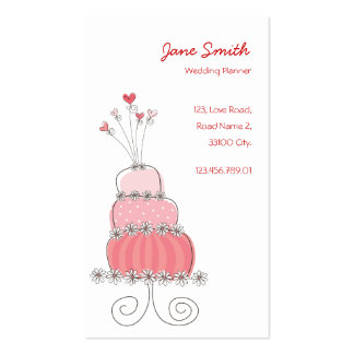 Whimsical Chic Pink Wedding Cake Profile Card Double-Sided Standard Business Cards (Pack Of 100)