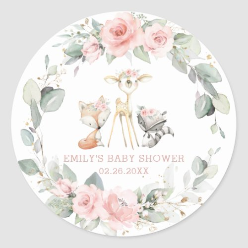 Whimsical Chic Woodland Animals Pink Floral Favor Classic Round Sticker
