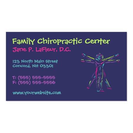 Violet Blue Da Vinci Style Vitruvian Man Whimsical Chiropractic Business Cards