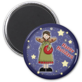 Whimsical Christmas angel with bauble 2 Inch Round Magnet