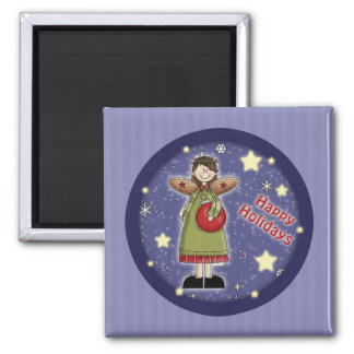 Whimsical Christmas angel with bauble 2 Inch Square Magnet