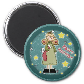 Whimsical Christmas angel with Christmas stocking 2 Inch Round Magnet