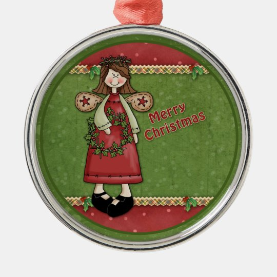 Whimsical Christmas angel with wreath Metal Ornament