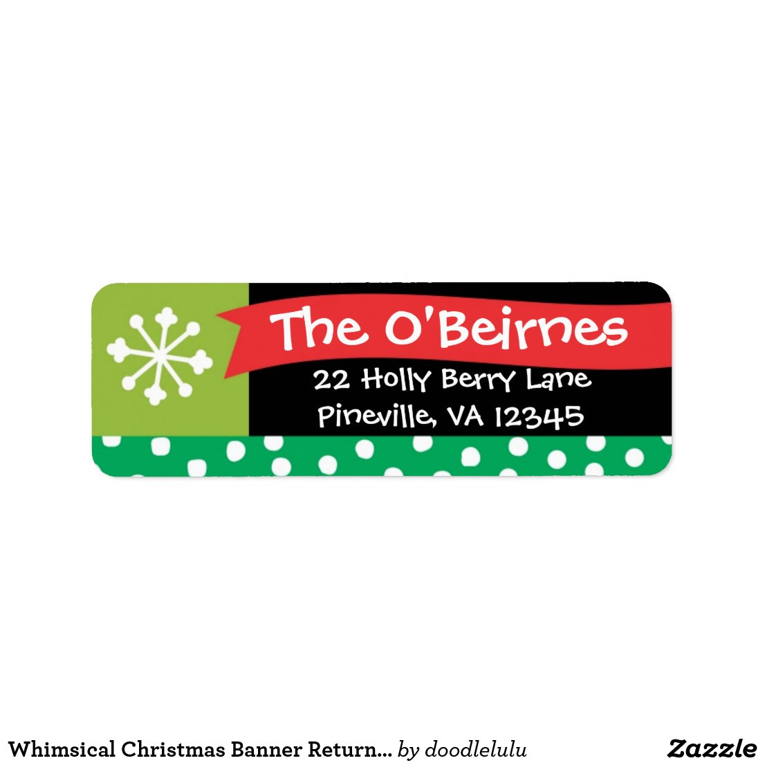 Whimsical Christmas Banner Return Address Label