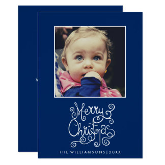 Whimsical Christmas Blue Calligraphy Swirl Photo Card