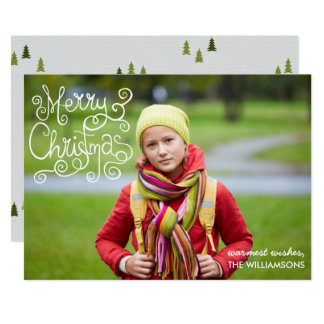 Whimsical Christmas Calligraphy Swirl Your Photo Card