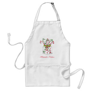 Whimsical Christmas Candy Cane Adult Apron