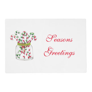 Whimsical Christmas Candy Cane Placemat