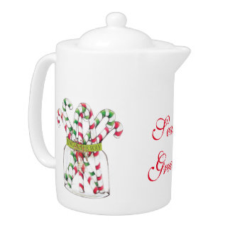 Whimsical Christmas Candy Cane Teapot