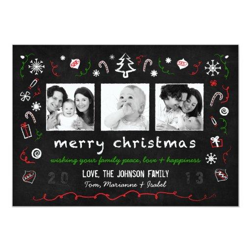 """Whimsical Christmas Chalkboard Card with 3 Photos 5"""" X 7"""" Invitation Card"""