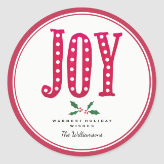 Whimsical Christmas Doodled Joy and Holly Classic Round Sticker