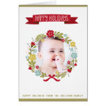 Whimsical Christmas Floral Wreath Photo Card