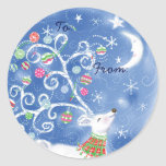 Whimsical Christmas Gift Tags - Blue Round Sticker