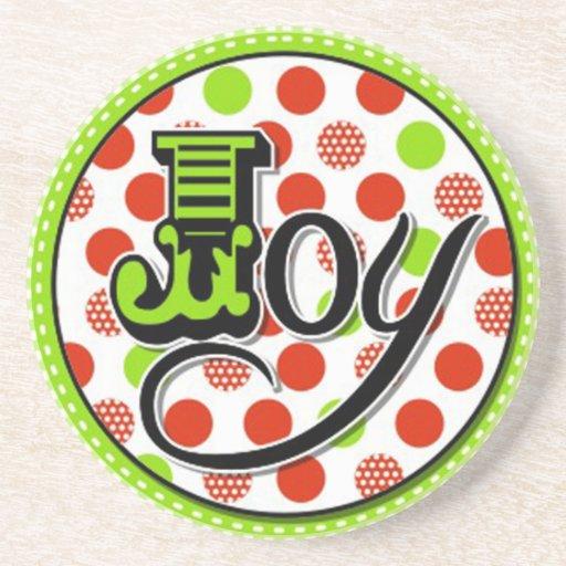 whimsical christmas joy design drink coaster