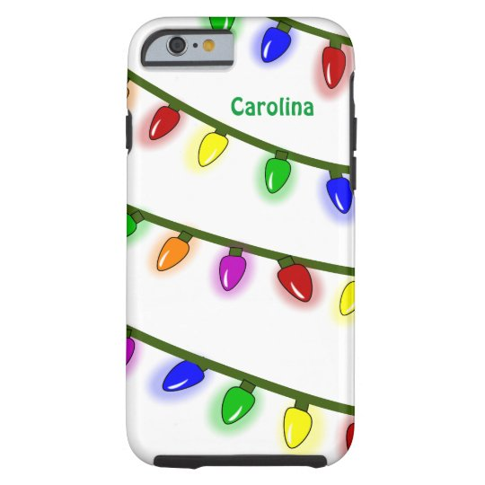Whimsical Christmas Lights Custom Name iPhone 6 ca Tough iPhone 6 Case