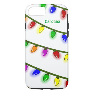 Whimsical Christmas Lights Custom Name iPhone 7 iPhone 7 Case
