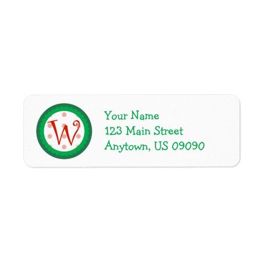 Whimsical Christmas Monogram Address Labels W