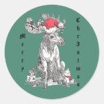 Whimsical Christmas Moose Wildlife Classic Round Sticker