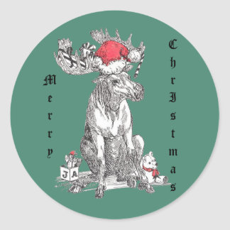 Whimsical Christmas Moose Wildlife Classic Round Sticker