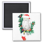 Whimsical Christmas Owl and Stocking designed Magnet