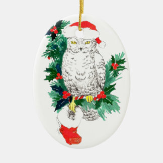 Whimsical Christmas Owl & Stocking Ornament