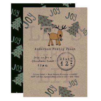Whimsical Christmas Party Lets Get LIT Rustic Invitation