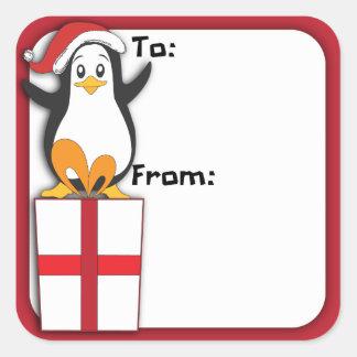 Whimsical Christmas Penguin Gift Tag Sticker