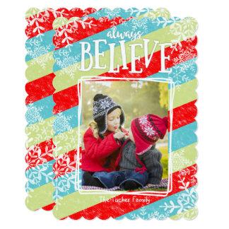 Whimsical Christmas Photo Card Always Believe
