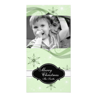 Whimsical Christmas Photo Card Green Snowflakes