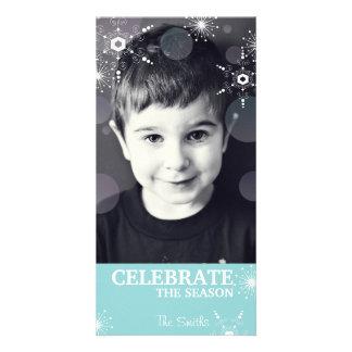 Whimsical Christmas Photo Card Teal Snowflakes Dot