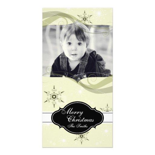 Whimsical Christmas Photo Card Yellow Snowflakes