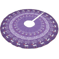 Whimsical Christmas Prancing Deer and Lace Purple Brushed Polyester Tree Skirt
