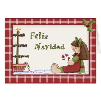 Whimsical Christmas Rag Doll Spanish Language Card