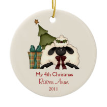 Whimsical Christmas Sheep Child's Photo | Ceramic Ornament