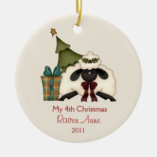 Whimsical Christmas Sheep Child's Photo | Ceramic Ornament