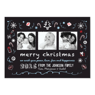 """Whimsical Christmas Sketches Card with 3 Photos 5"""" X 7"""" Invitation Card"""