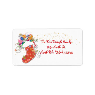 Whimsical Christmas Stocking and Stars Label