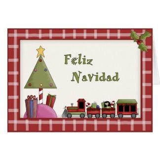 Whimsical Christmas Toy Train Set Spanish Language Card