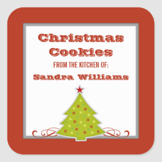 Whimsical Christmas Tree Baking Label Stickers