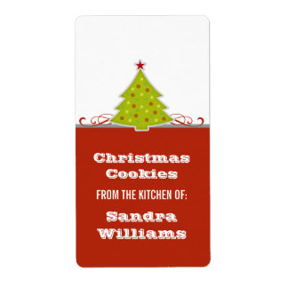 Whimsical Christmas Tree Baking Labels