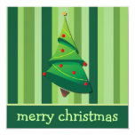 "Whimsical Christmas Tree Flat Cards 5.25"" Square Invitation Card"