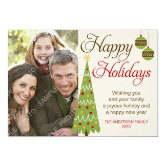 Whimsical Christmas Tree Holiday Photo Card Invitations