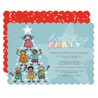 Whimsical Christmas Tree Kids Holiday Party Invite