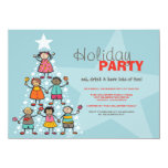 "Whimsical Christmas Tree Kids Holiday Party Invite 4.5"" X 6.25"" Invitation Card"