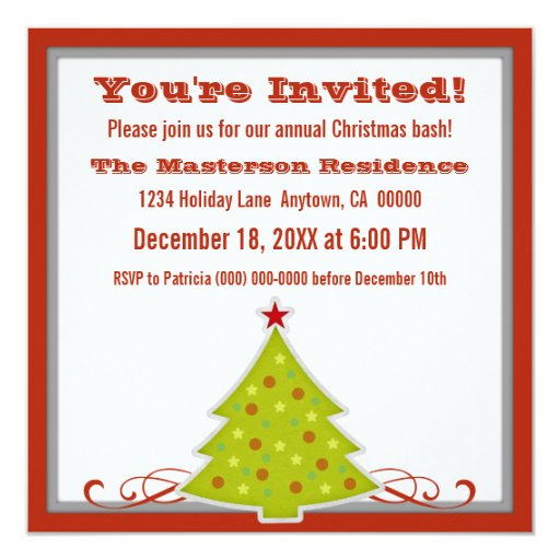 """Whimsical Christmas Tree Party Invite 5.25"""" Square Invitation Card"""