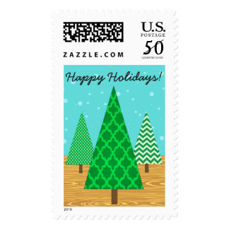 Whimsical Christmas Tree Postage Stamps
