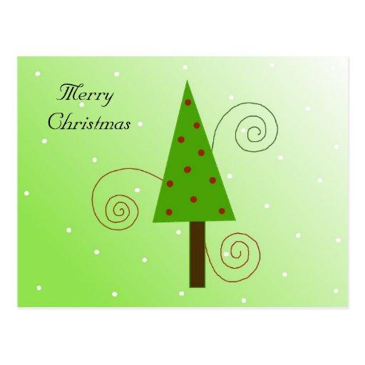 Whimsical Christmas Tree Postcard