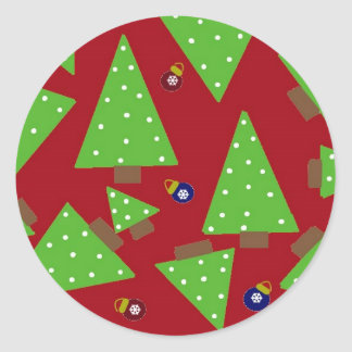 Whimsical Christmas Trees and Decorations Classic Round Sticker