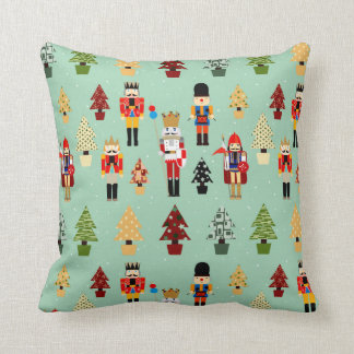 Whimsical Christmas Trees and Nutcrackers Pillows